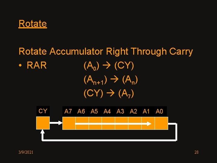 Rotate Accumulator Right Through Carry • RAR (A 0) (CY) (An+1) (An) (CY) (A