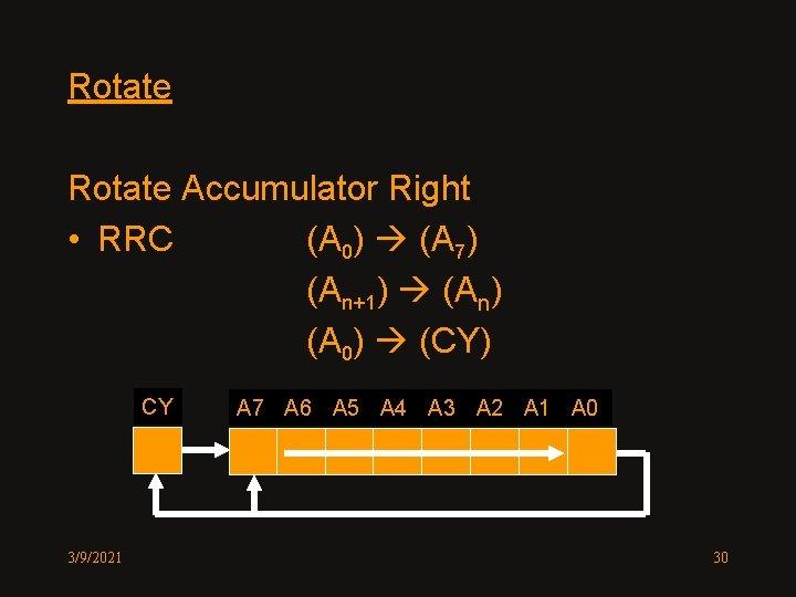 Rotate Accumulator Right • RRC (A 0) (A 7) (An+1) (An) (A 0) (CY)