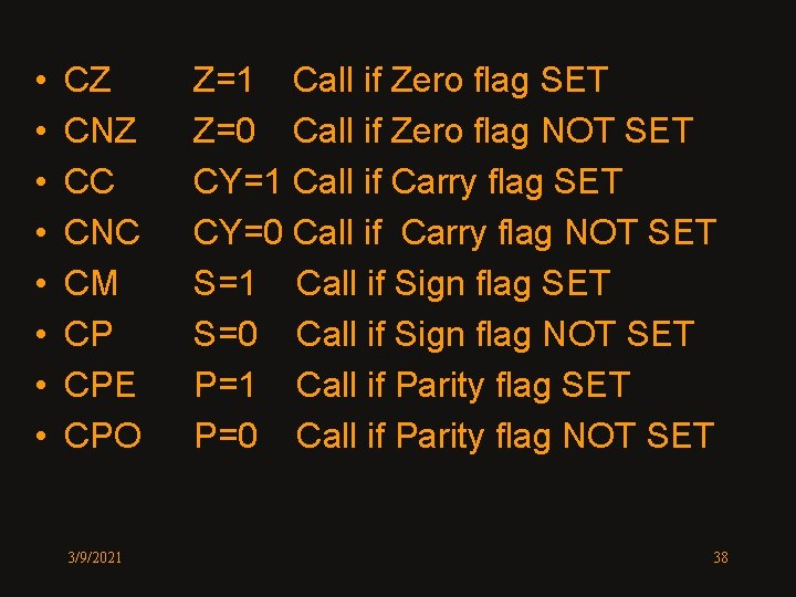 • • CZ CNZ CC CNC CM CP CPE CPO 3/9/2021 Z=1 Call