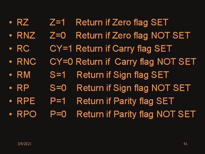 • • RZ RNZ RC RNC RM RP RPE RPO 3/9/2021 Z=1 Return