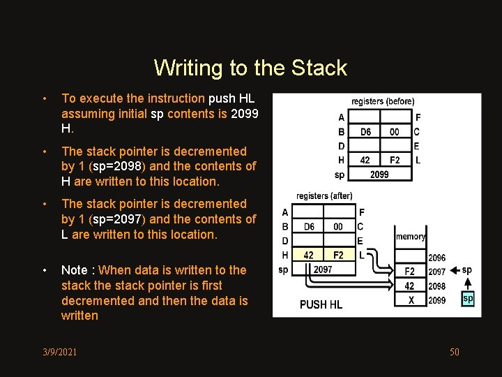 Writing to the Stack • To execute the instruction push HL assuming initial sp