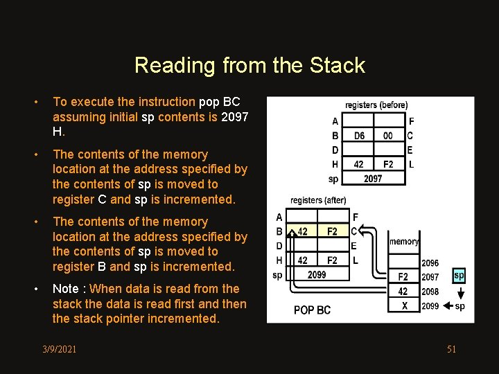 Reading from the Stack • To execute the instruction pop BC assuming initial sp