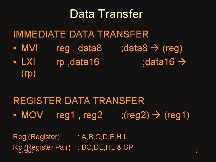 Data Transfer IMMEDIATE DATA TRANSFER • MVI reg , data 8 ; data 8