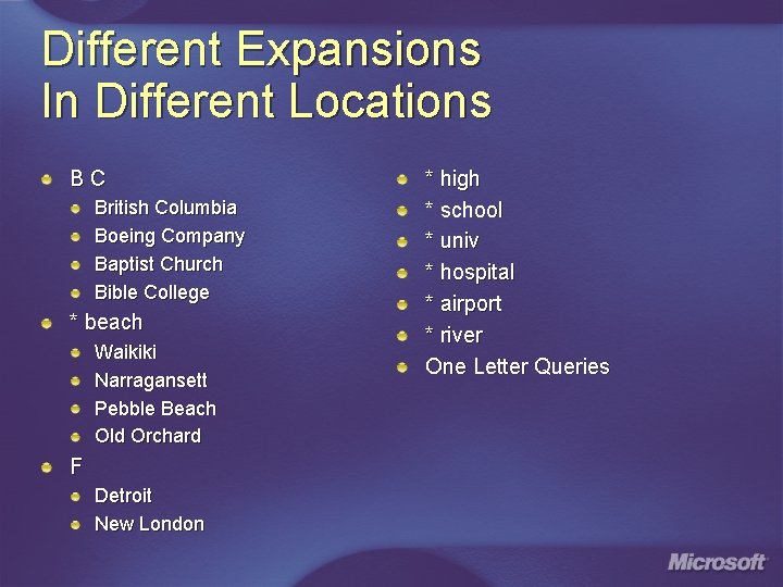 Different Expansions In Different Locations BC British Columbia Boeing Company Baptist Church Bible College