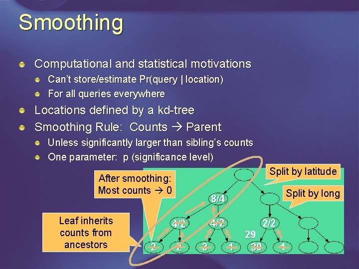 Smoothing Computational and statistical motivations Can't store/estimate Pr(query   location) For all queries everywhere