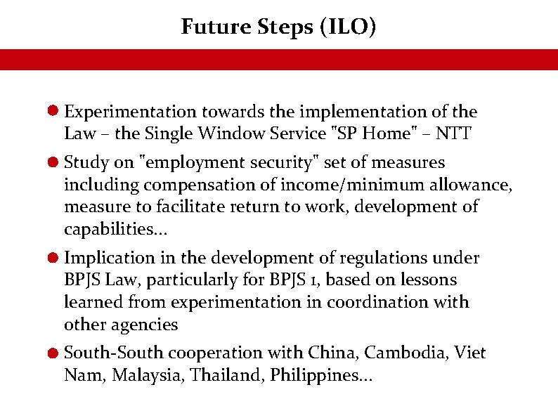 Future Steps (ILO) Experimentation towards the implementation of the Law – the Single Window