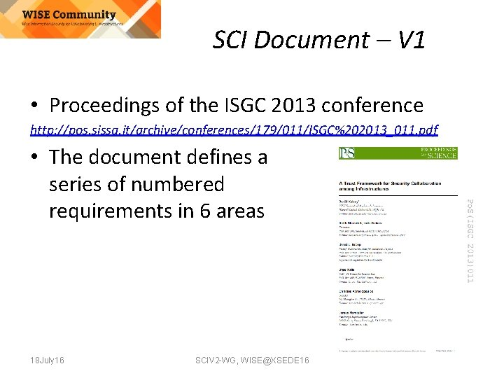 SCI Document – V 1 • Proceedings of the ISGC 2013 conference http: //pos.