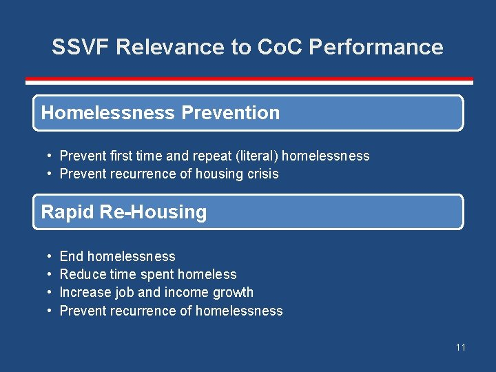 SSVF Relevance to Co. C Performance Homelessness Prevention • Prevent first time and repeat