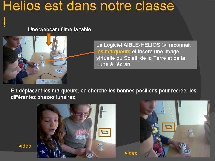 Helios est dans notre classe ! Une webcam filme la table Le Logiciel AIBLE-HELIOS