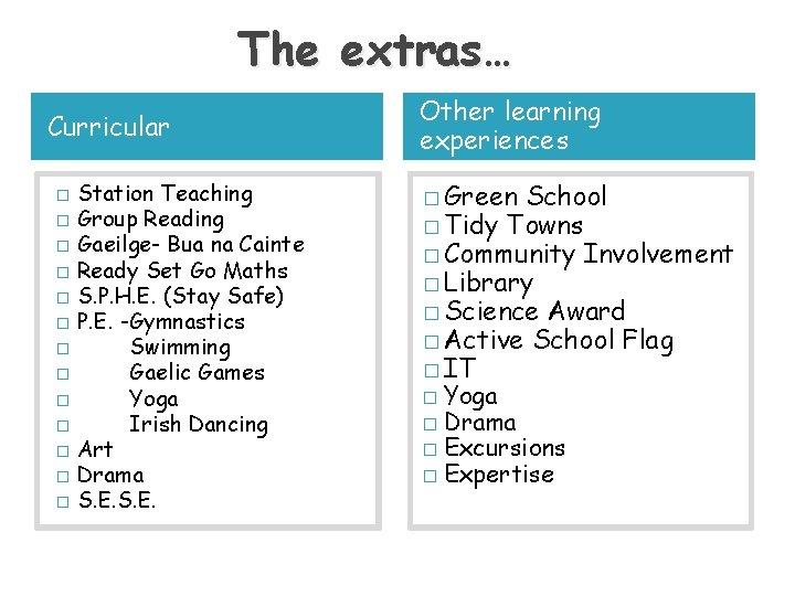 The extras… Curricular � � � � Station Teaching Group Reading Gaeilge- Bua na