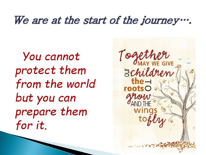 We are at the start of the journey…. You cannot protect them from the