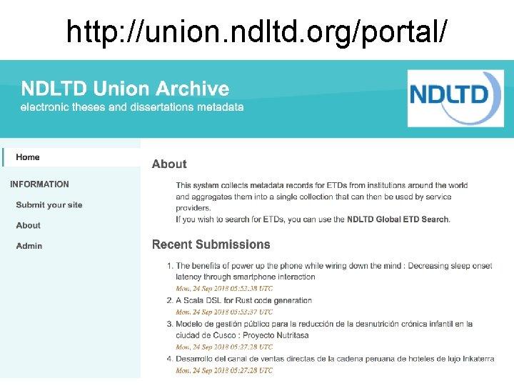 http: //union. ndltd. org/portal/ 25