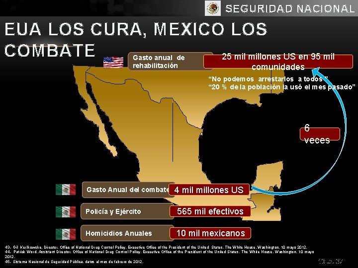 SEGURIDAD NACIONAL EUA LOS CURA, MEXICO LOS COMBATE 25 millones US en 95 mil