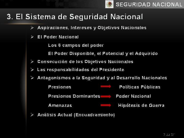 SEGURIDAD NACIONAL 3. El Sistema de Seguridad Nacional Ø Aspiraciones, Intereses y Objetivos Nacionales