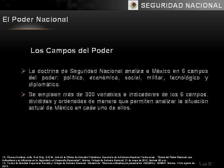 SEGURIDAD NACIONAL El Poder Nacional Los Campos del Poder Ø La doctrina de Seguridad