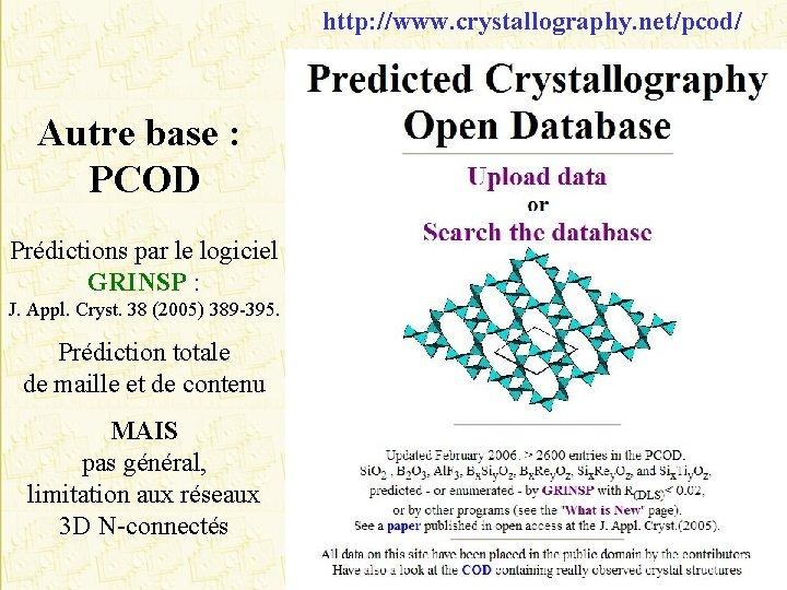 http: //www. crystallography. net/pcod/ Autre base : PCOD Prédictions par le logiciel GRINSP :