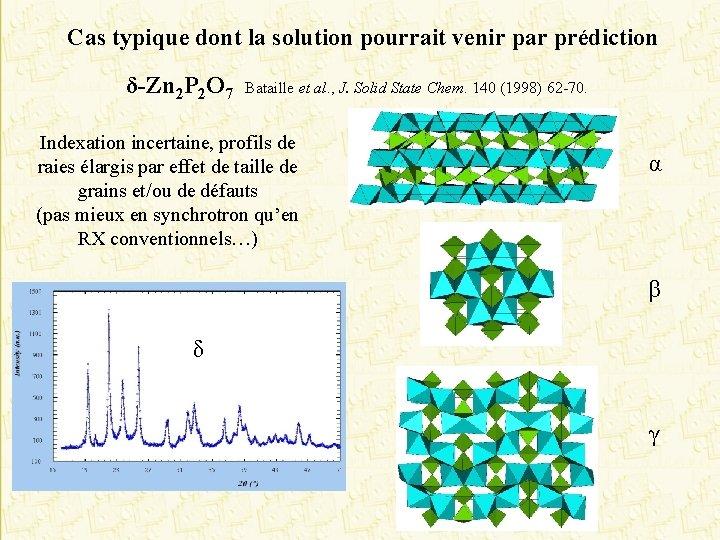 Cas typique dont la solution pourrait venir par prédiction δ-Zn 2 P 2 O