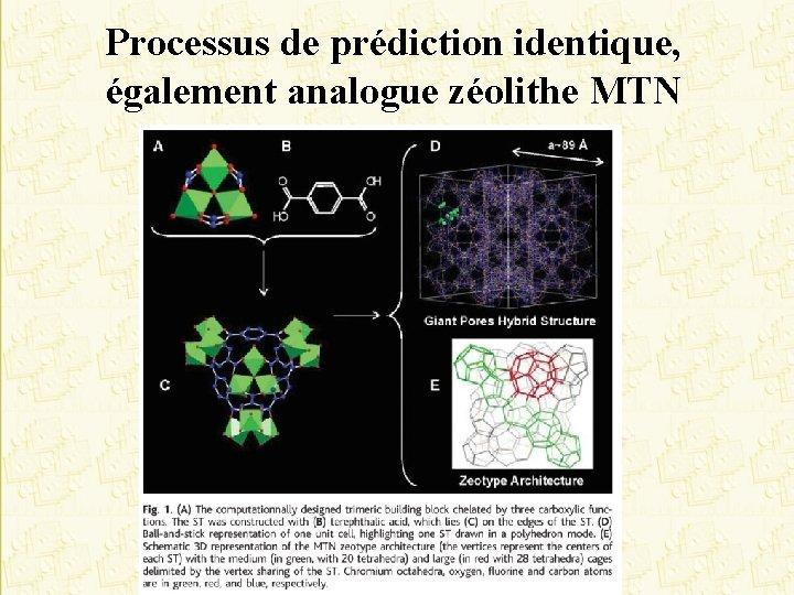 Processus de prédiction identique, également analogue zéolithe MTN