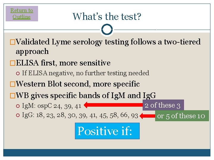 Return to Outline What's the test? �Validated Lyme serology testing follows a two-tiered approach