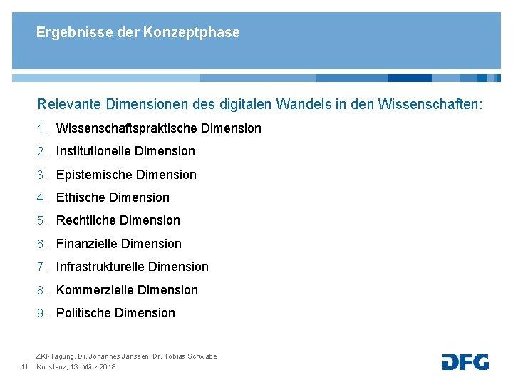 Ergebnisse der Konzeptphase Relevante Dimensionen des digitalen Wandels in den Wissenschaften: 1. Wissenschaftspraktische Dimension