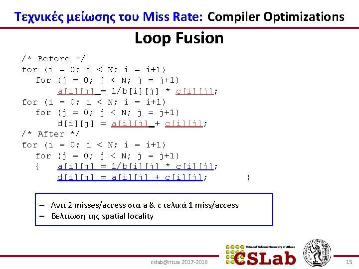Τεχνικές μείωσης του Miss Rate: Compiler Optimizations Loop Fusion /* Before */ for (i