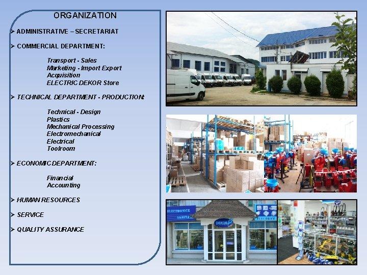 ORGANIZATION Ø ADMINISTRATIVE – SECRETARIAT Ø COMMERCIAL DEPARTMENT: Transport - Sales Marketing - Import