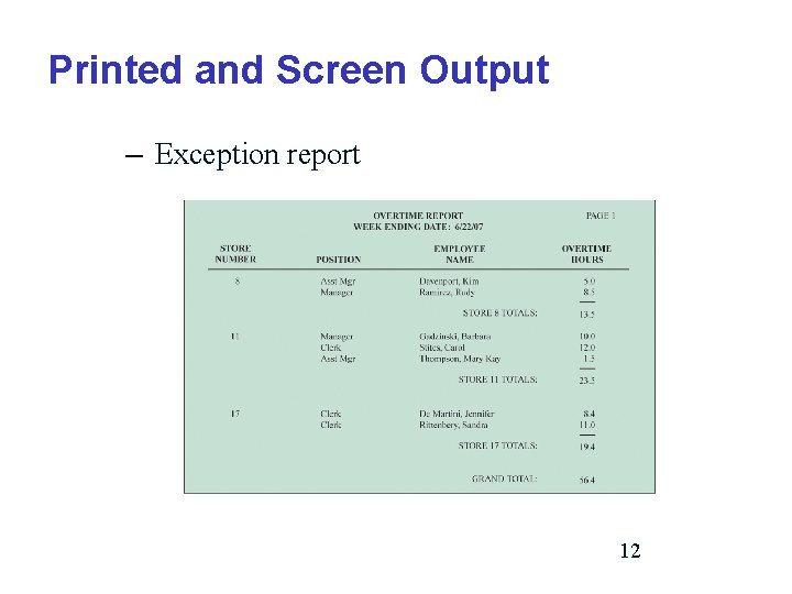 Printed and Screen Output – Exception report 12