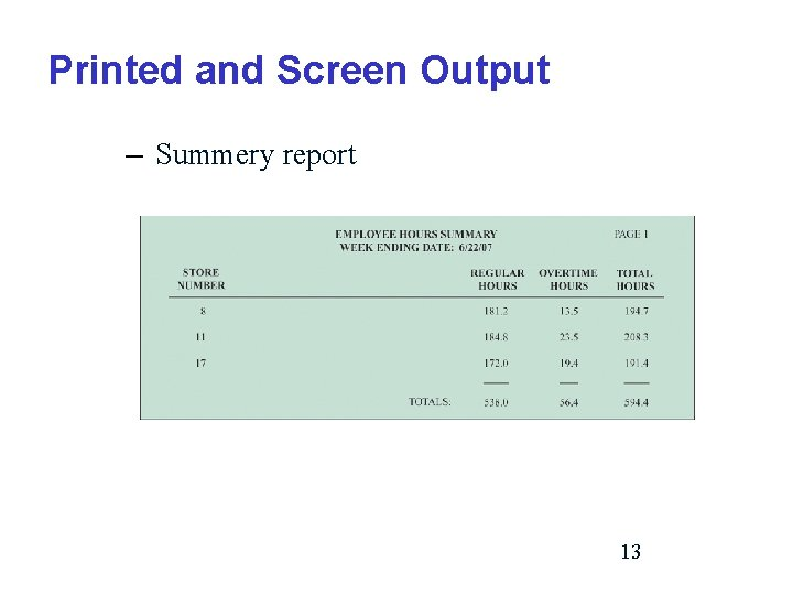 Printed and Screen Output – Summery report 13