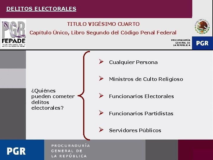 DELITOS ELECTORALES TITULO VIGÉSIMO CUARTO Capítulo Único, Libro Segundo del Código Penal Federal PROCURADURÍA