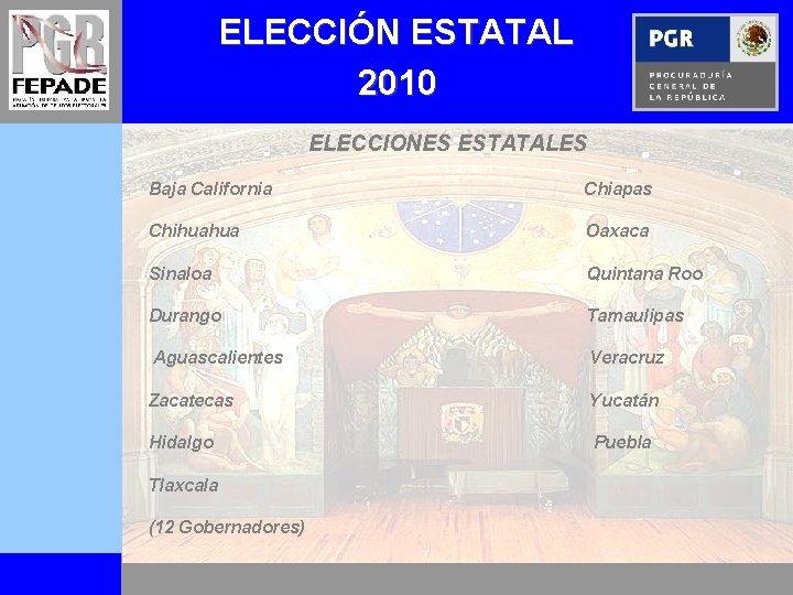 ELECCIÓN ESTATAL 2010 ELECCIONES ESTATALES Baja California Chiapas Chihuahua Oaxaca Sinaloa Quintana Roo Durango