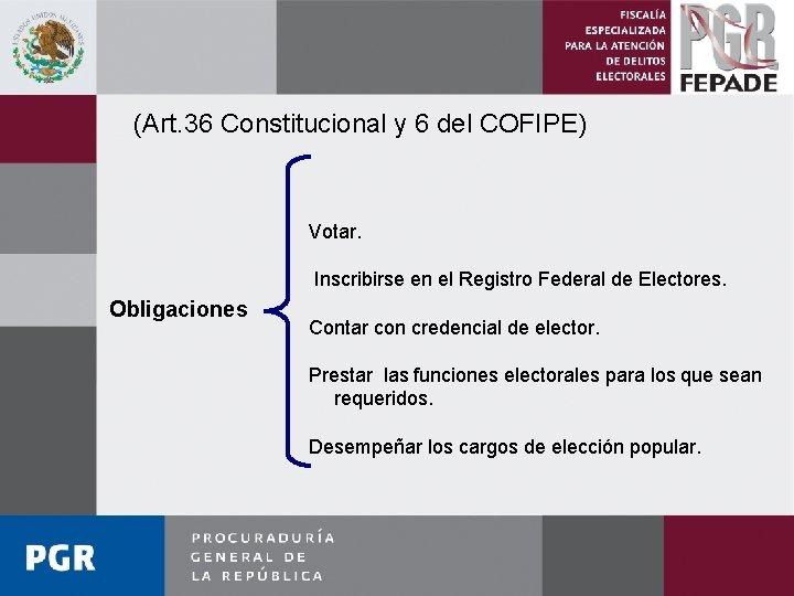 (Art. 36 Constitucional y 6 del COFIPE) Votar. Inscribirse en el Registro Federal de