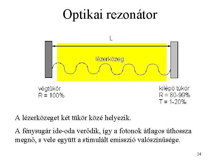 Optikai rezonátor A lézerközeget két tükör közé helyezik. A fénysugár ide-oda verődik, így a
