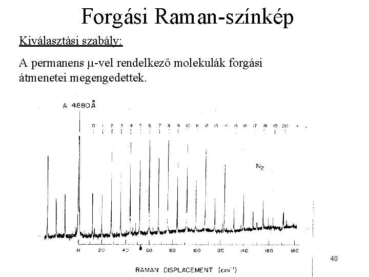 Forgási Raman-színkép Kiválasztási szabály: A permanens -vel rendelkező molekulák forgási átmenetei megengedettek. 40