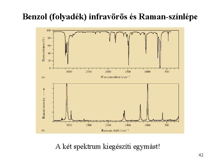 Benzol (folyadék) infravörös és Raman-színlépe A két spektrum kiegészíti egymást! 42