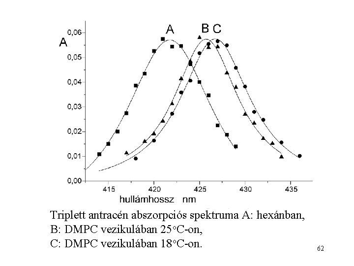 Triplett antracén abszorpciós spektruma A: hexánban, B: DMPC vezikulában 25 o. C-on, C: DMPC