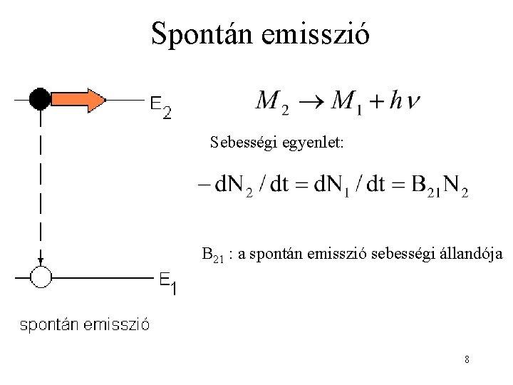 Spontán emisszió Sebességi egyenlet: B 21 : a spontán emisszió sebességi állandója 8