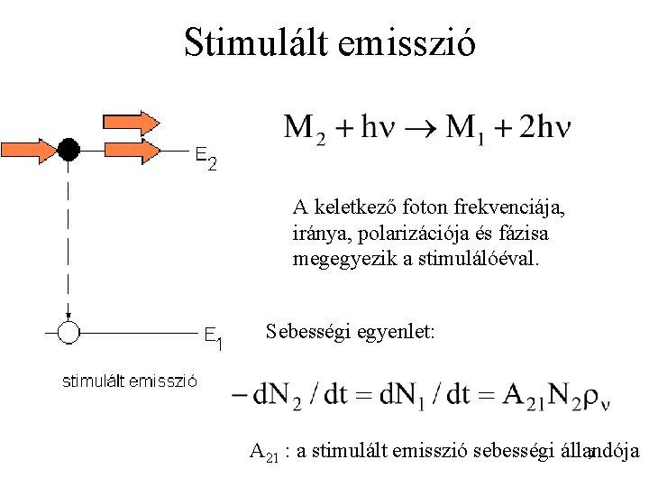 Stimulált emisszió A keletkező foton frekvenciája, iránya, polarizációja és fázisa megegyezik a stimulálóéval. Sebességi