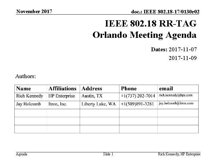 November 2017 doc. : IEEE 802. 18 -17/0130 r 02 IEEE 802. 18 RR-TAG