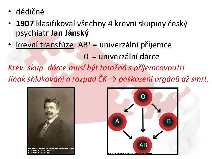 • dědičné • 1907 klasifikoval všechny 4 krevní skupiny český psychiatr Jan Jánský