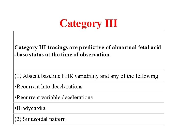 Category III tracings are predictive of abnormal fetal acid -base status at the time