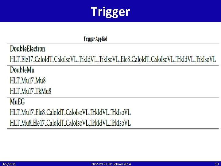 Trigger 3/9/2021 NCP-ICTP LHC School 2014 10