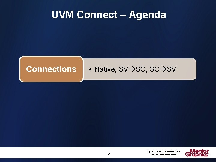 UVM Connect – Agenda Connections • Native, SV SC, SC SV 12 © 2013