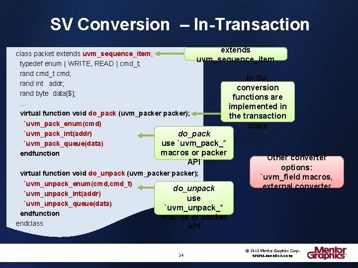 SV Conversion – In-Transaction extends class packet extends uvm_sequence_item; uvm_sequence_item typedef enum { WRITE,
