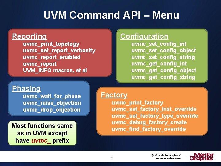 UVM Command API – Menu Configuration Reporting uvmc_set_config_int uvmc_set_config_object uvmc_set_config_string uvmc_get_config_int uvmc_get_config_object uvmc_get_config_string uvmc_print_topology