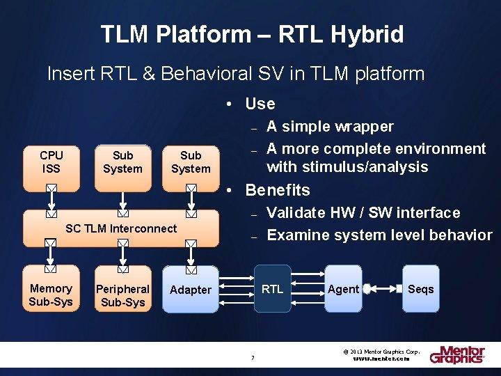 TLM Platform – RTL Hybrid Insert RTL & Behavioral SV in TLM platform •