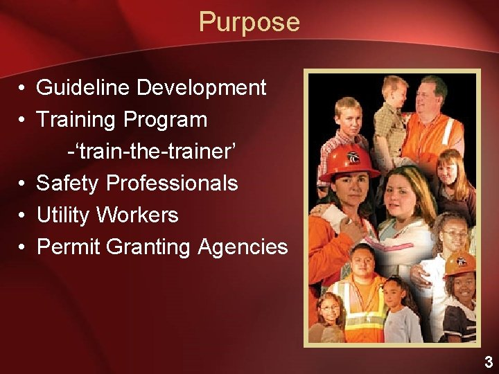 Purpose • Guideline Development • Training Program -'train-the-trainer' • Safety Professionals • Utility Workers
