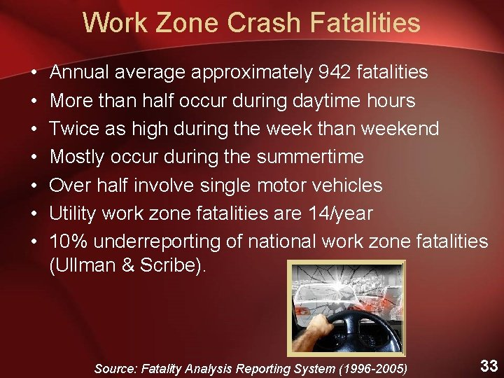 Work Zone Crash Fatalities • • Annual average approximately 942 fatalities More than half