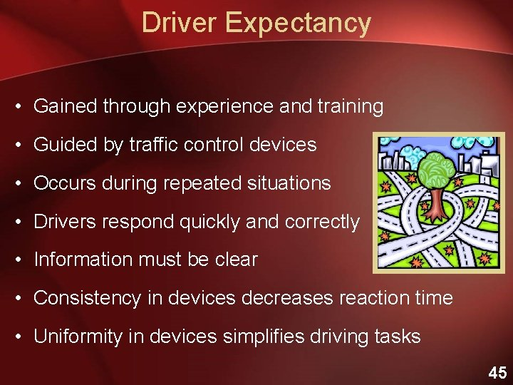 Driver Expectancy • Gained through experience and training • Guided by traffic control devices