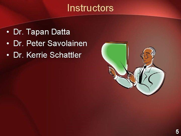 Instructors • Dr. Tapan Datta • Dr. Peter Savolainen • Dr. Kerrie Schattler 5