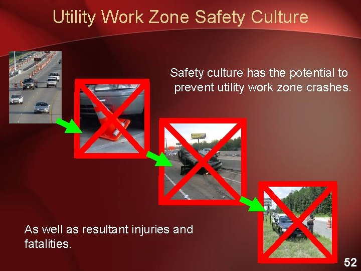 Utility Work Zone Safety Culture Safety culture has the potential to prevent utility work
